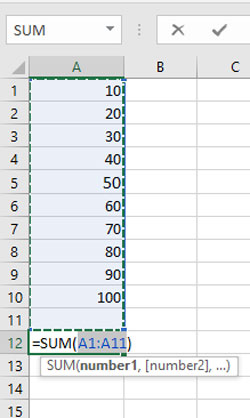 yaha pe autosum formula ko numerical data ki help se samjhaya hai