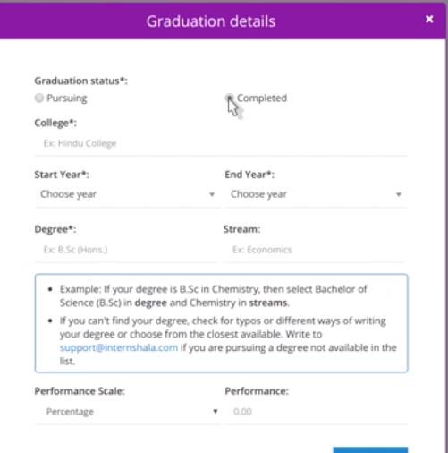 internshala account graduation detail