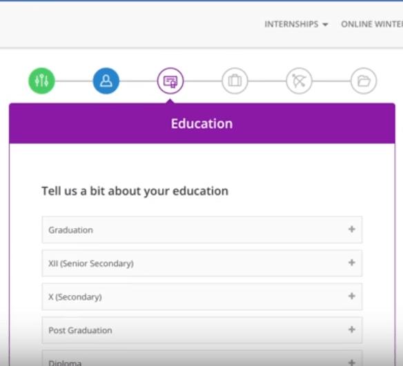 internshala account education detail