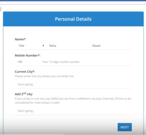internshala account personal details